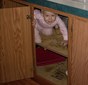 baby in the cupboard